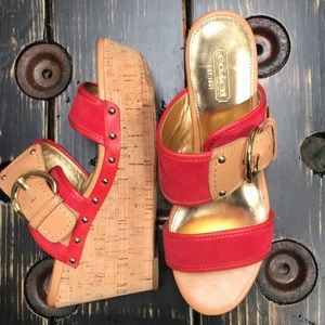 Coach Red Leather Wedge Sandals with Side Buckle